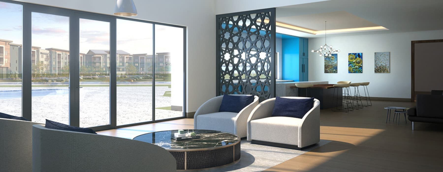 rendering of resident lounge with easy access to pool and ample seating spaces