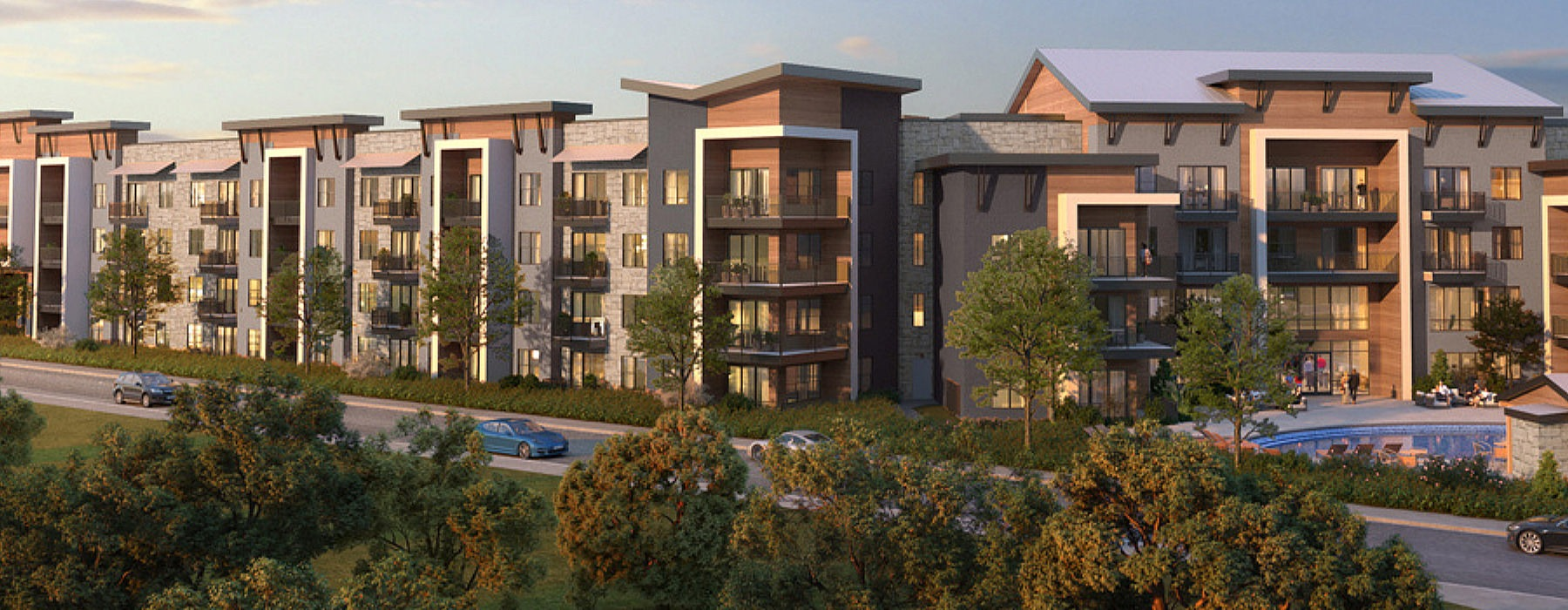 street view rendering of property showing nearby lush landscaping, trees & nearness to swimming pool